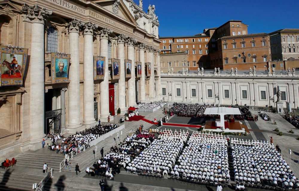 Pope Francis leads a canonization mass for seven new saints in Saint Peter's Square at the Vatican